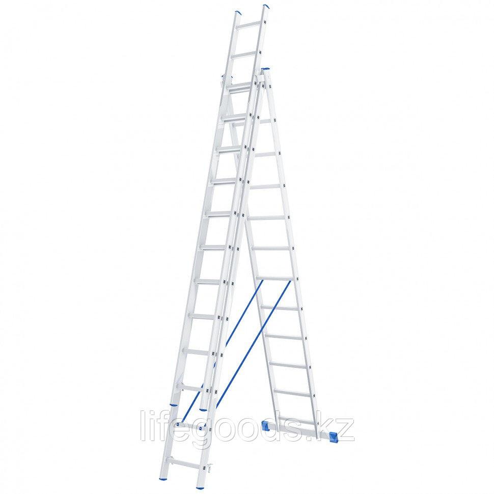 Лестница, 3 х 12 ступеней, алюминиевая, трехсекционная, Россия, Сибртех 97822