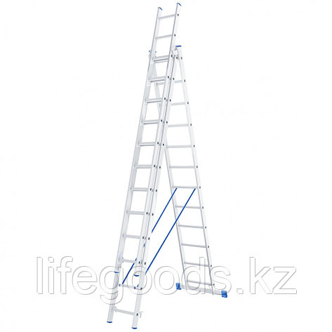 Лестница, 3 х 12 ступеней, алюминиевая, трехсекционная, Россия, Сибртех 97822, фото 2