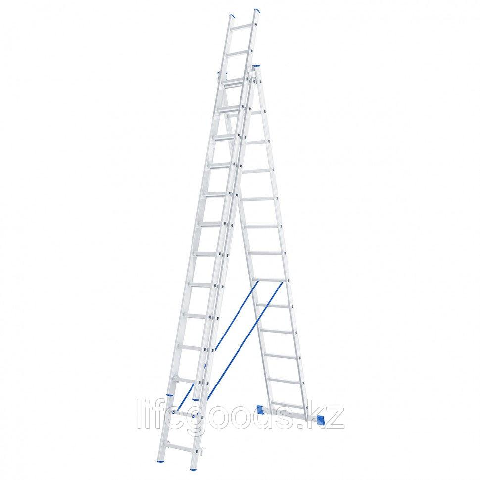 Лестница, 3 х 13 ступеней, алюминиевая, трехсекционная, Россия, Сибртех 97823