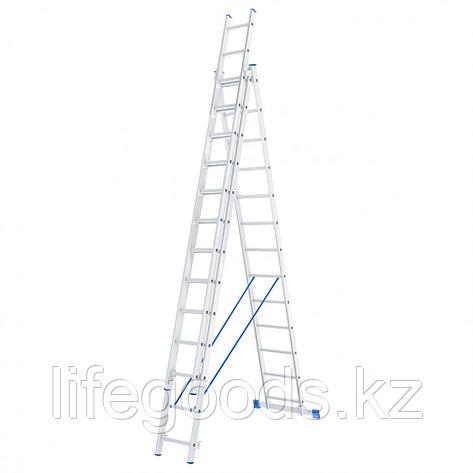 Лестница, 3 х 13 ступеней, алюминиевая, трехсекционная, Россия, Сибртех 97823, фото 2