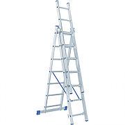 Лестница, 3 х 7 ступеней, алюминиевая, трехсекционная, Россия, Сибртех 97817