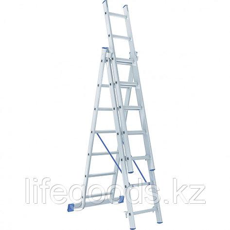 Лестница, 3 х 7 ступеней, алюминиевая, трехсекционная, Россия, Сибртех 97817, фото 2
