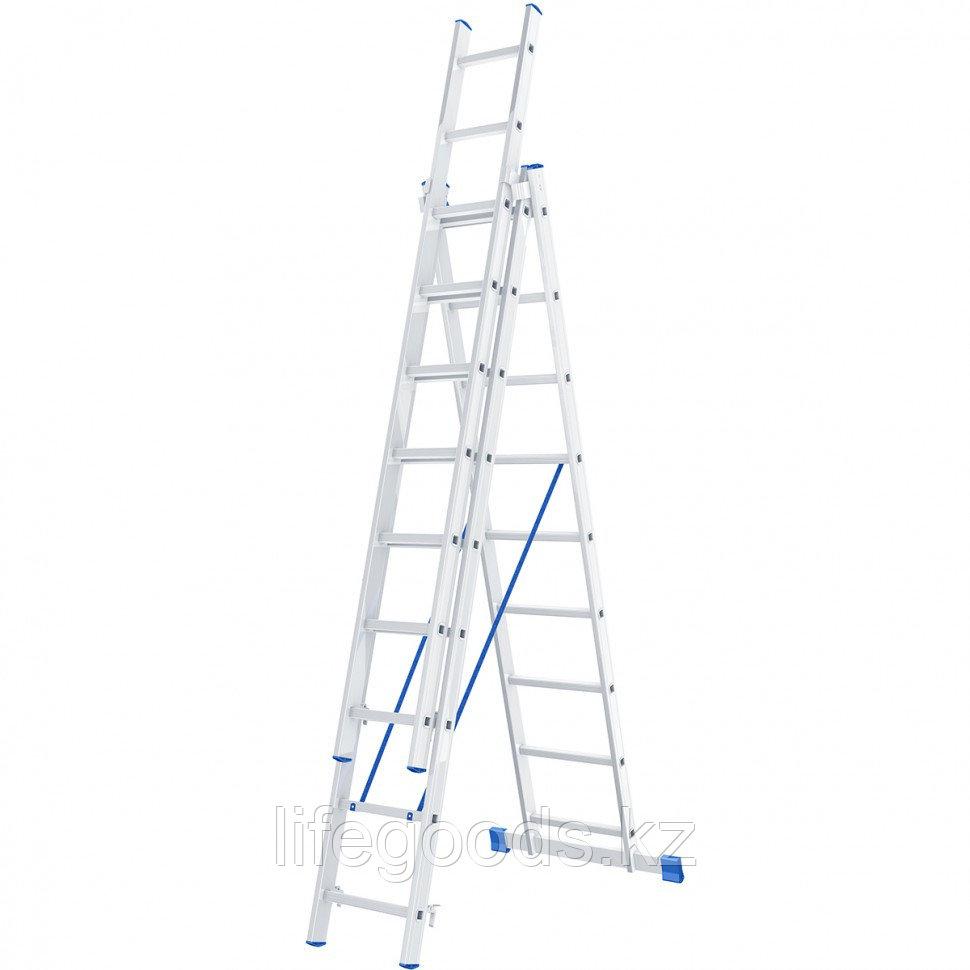Лестница, 3 х 9 ступеней, алюминиевая, трехсекционная, Россия, Сибртех 97819