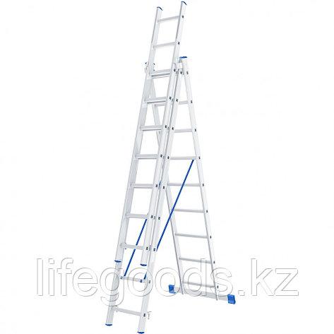 Лестница, 3 х 9 ступеней, алюминиевая, трехсекционная, Россия, Сибртех 97819, фото 2