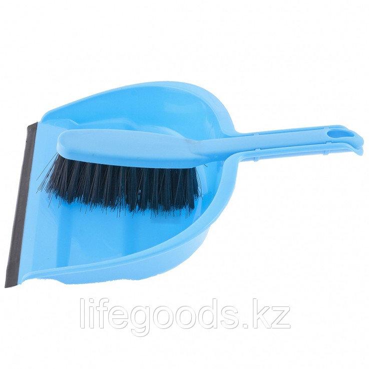 Набор: совок с кромкой 330 х 235 мм и щетка- сметка 290 мм, голубой Elfe 93310