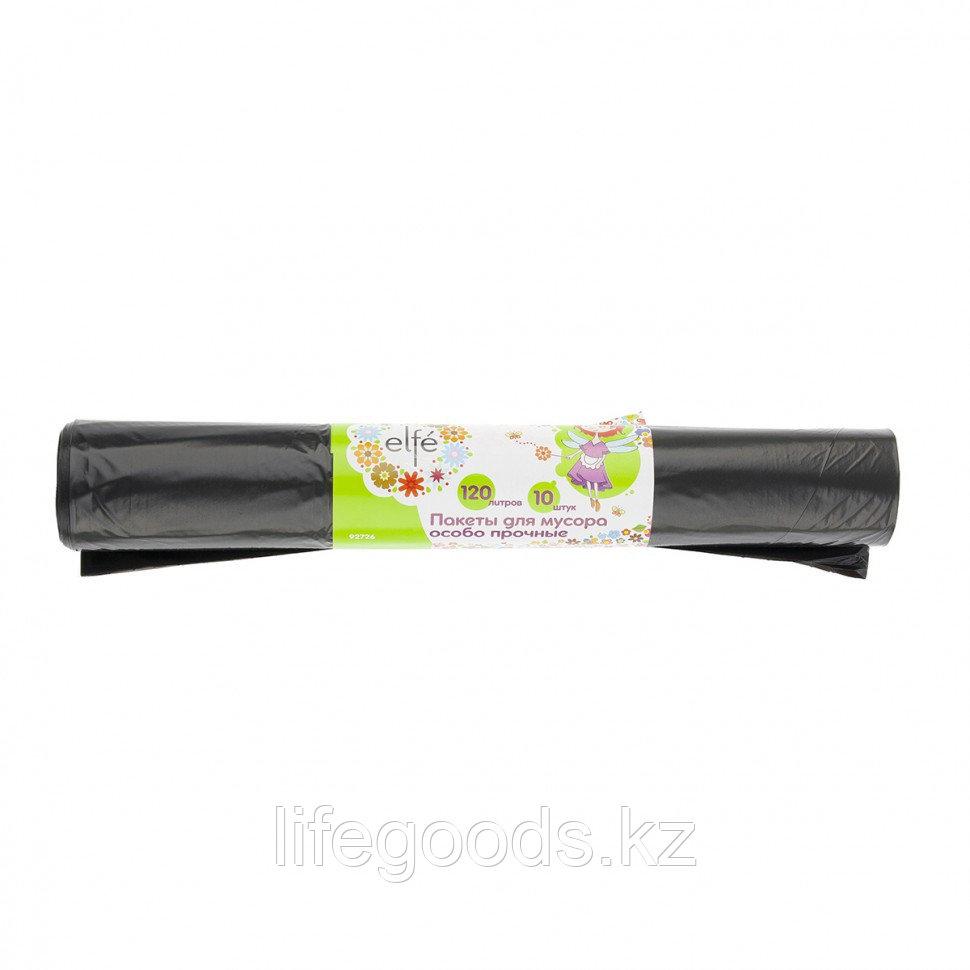Пакеты для мусора 120 л х 10 шт, пвд прочные черные, длинный ролик, Россия Elfe 92726