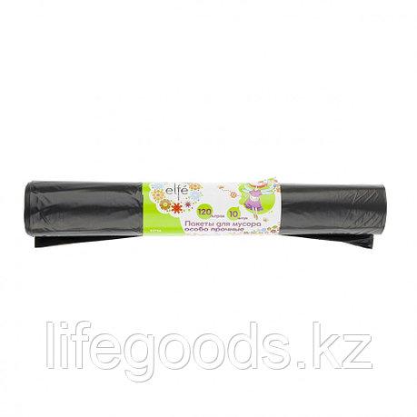 Пакеты для мусора 120 л х 10 шт, пвд прочные черные, длинный ролик, Россия Elfe 92726, фото 2