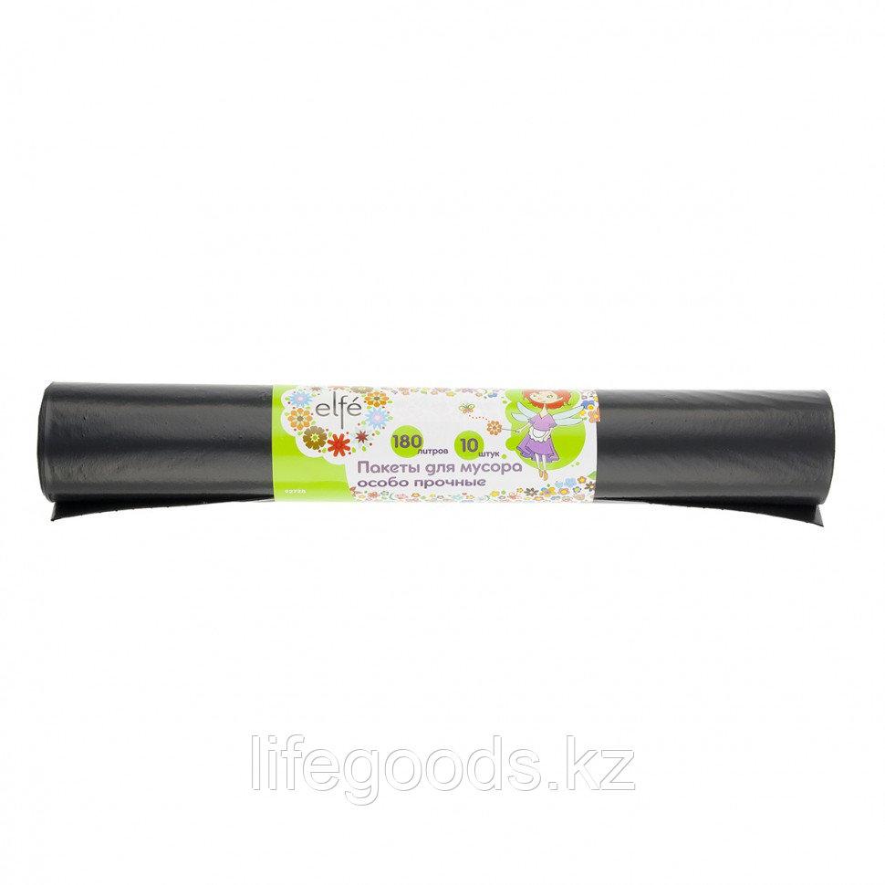 Пакеты для мусора 180 л х 10 шт, пвд особопрочные черные, длинный ролик, Россия Elfe 92728
