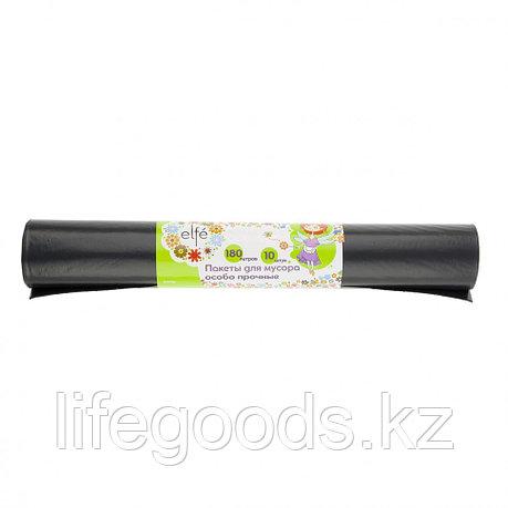Пакеты для мусора 180 л х 10 шт, пвд особопрочные черные, длинный ролик, Россия Elfe 92728, фото 2