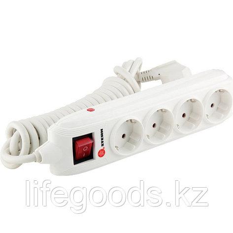Удлинитель бытовой с зазем, выключателем, предохранит и шторками, 3 м, 4 розетки, 16 А Stern 95746, фото 2