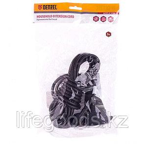 Удлинитель бытовой с заземлением, 5 м, 1 прорезиненная розетка, 16 A, серия УХз16 Denzel 95917, фото 2
