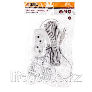 Удлинитель бытовой, без заземления, 5 м, 2 розетки, 6 А, серия УХ6 Denzel 95922, фото 2