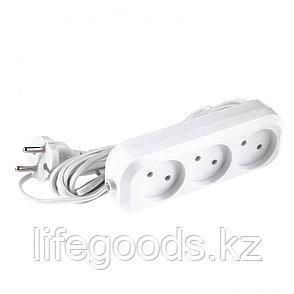 Удлинитель бытовой, без заземления, 5 м, 3 розетки, 6 A, серия УХ6 Denzel 95927, фото 2