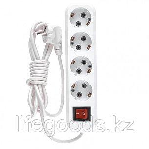 Удлинитель бытовой, с заземлением и выключателем, 2 м, 4 розетки, 10 A, серия УХз10 Denzel 95975, фото 2