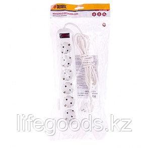 Удлинитель бытовой, с заземлением и выключателем, 3 м, 6 розеток, 10 A, серия УХз10 Denzel 95981, фото 2