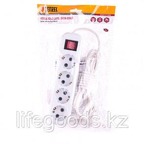 Удлинитель бытовой, с заземлением и выключателем, 4 м, 4 розетки, 10 A, серия УХз10 Denzel 95977, фото 2