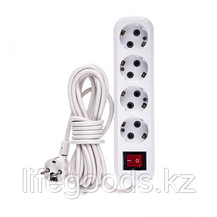 Удлинитель бытовой, с заземлением и выключателем, 5 м, 4 розетки, 10 A, серия УХз10 Denzel 95978, фото 2