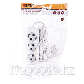 Удлинитель бытовой, серия УХз-10-302, с заземлением, 2 м, 3 розетки, 10 A Denzel 95965, фото 2