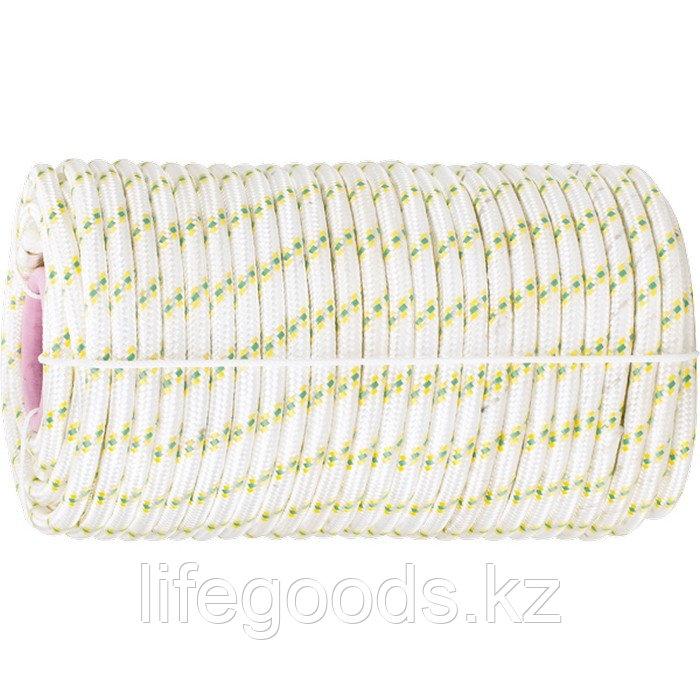 Фал плетеный капрон с сердечником, 24-прядный, 10 мм, бухта 100 м, 1300 кгс Россия Сибртех 93971