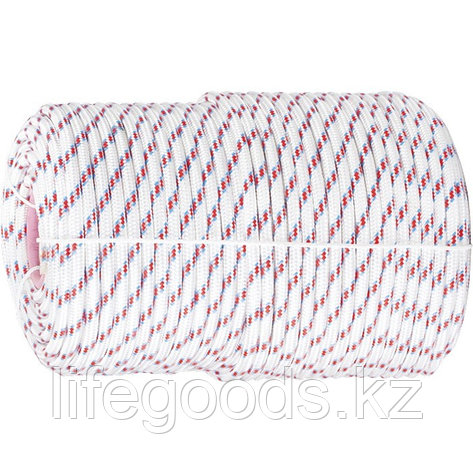 Фал плетеный полипропиленовый с сердечником, 16-прядный, 8 мм, бухта 100 м, 520 кгс Россия Сибртех 93966, фото 2