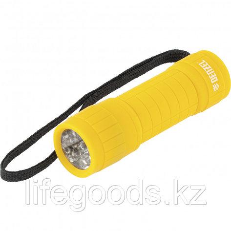 Фонарь светодиодный, желтый корпус с мягким покрытием, 9 Led, 3хААА Denzel 92613, фото 2