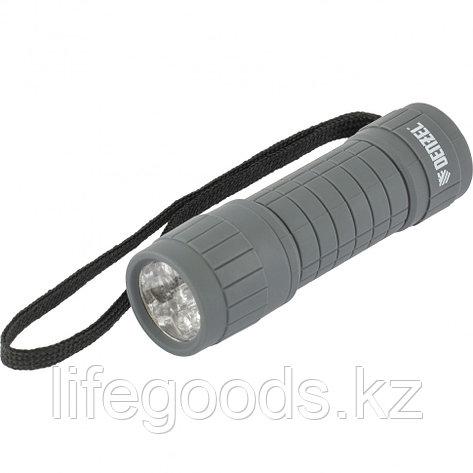 Фонарь светодиодный, серый корпус с мягким покрытием, 9 Led, 3хААА Denzel 92612, фото 2