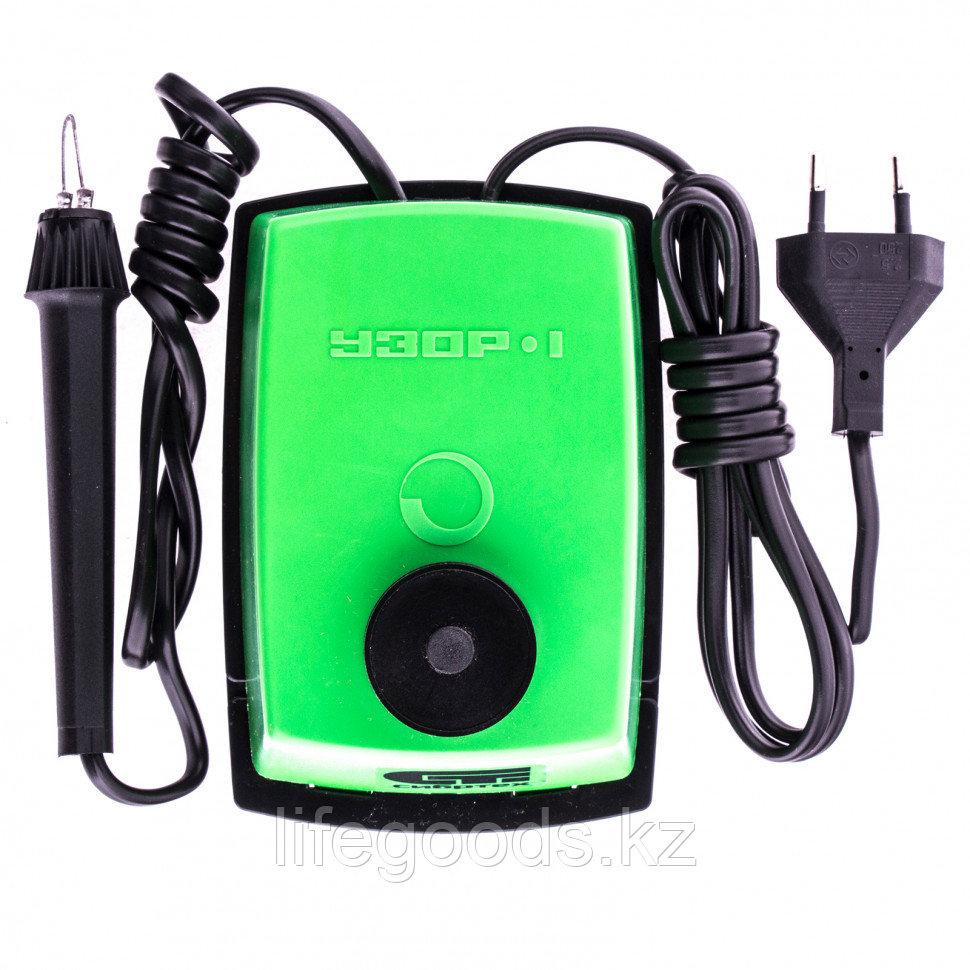"""Электроприбор для выжигания по дереву """"Узор 1"""" с подставкой, запасная игла, 5 проекций Сибртех. 91304"""