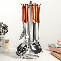 Набор кухонных принадлежностей 'Изыск', 6 предметов, ручная полировка, на подставке