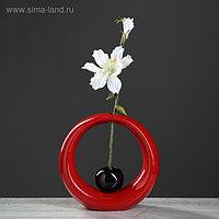 """Ваза настольная """"Орбита"""", красный, чёрный цвет, 25 см, керамика"""