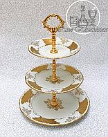 Фарфоровая горка/этажерка трехъярусная из серии «Белый Кленовый Лист»