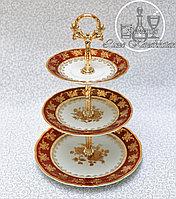 Фарфоровая горка/этажерка трехъярусная из серии «Золотая роза/Красная»