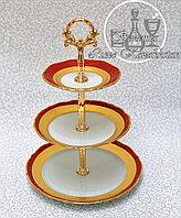 Фарфоровая горка/этажерка трехъярусная из серии «Золотая лента/Красная»