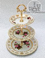 Фарфоровая горка/этажерка трехъярусная из серии «Испанская роза/Перломутр»