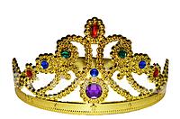 Детская корона золотая с разноцветными камнями