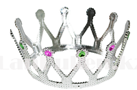 Детская корона серебряная с разноцветными камнями (14 см диаметр)