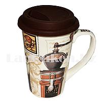 Кружка керамическая с силиконовой крышкой для кофе LCK-011