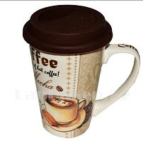 Кружка керамическая с силиконовой крышкой для кофе с кофейным принтом LCK-011