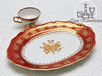 Фарфоровое овальное блюдо из серии «Золотая роза / Красная»