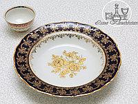 Фарфоровое глубокое круглое блюдо из серии «Кобальт / Золотая роза»