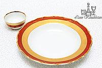 Фарфоровое глубокое круглое блюдо из серии «Золотая лента/Красная»