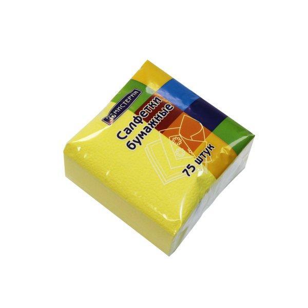 """Салфетки """"Mystery Style"""" 25х25 см, 1сл., желтый., бум. (75л), 75 шт"""