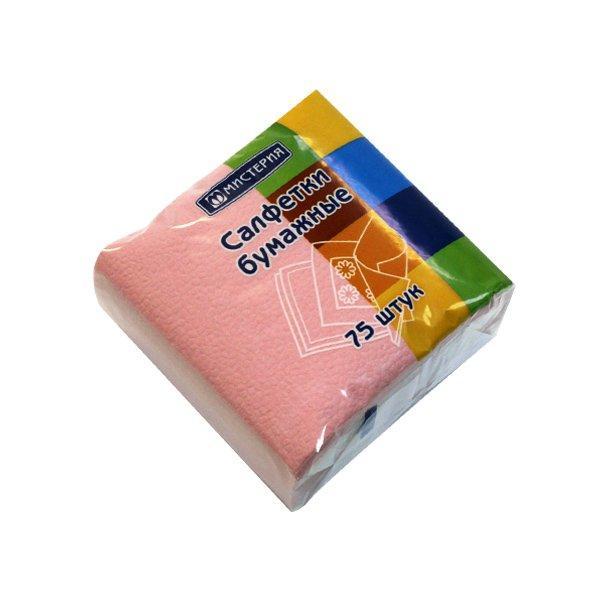 "Салфетки ""Mystery Style"" 25х25 см, 1сл., розовый., бум. (75л), 75 шт"