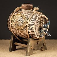 """Бочка """"Крымское вино"""", на подставке малая, с белым краном, 2,5 л"""