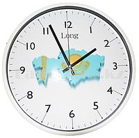 Настенные часы большие белый корпус с принтом Казахстан (30.1 см диаметр)