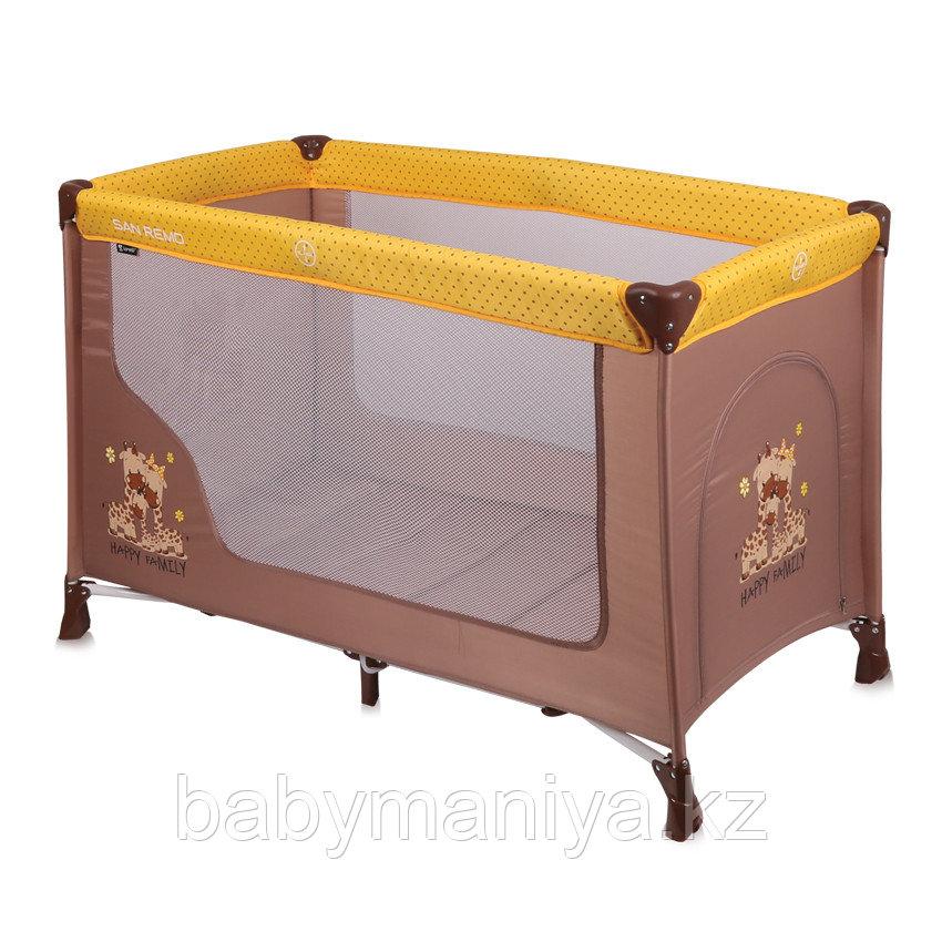 Кровать - манеж Lorelli SAN REMO  1 Бежево - Желтый / Beige & Yellow FAMILY 1803
