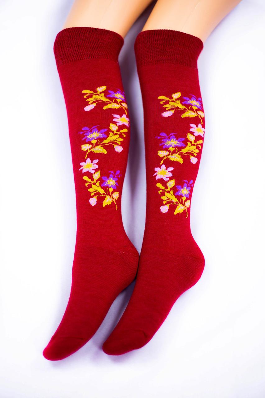 Гольфы женские, Цветок красные, р-р 36-40