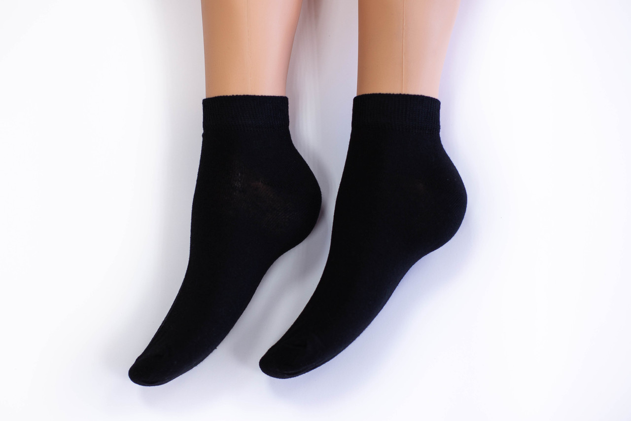 Носки женские, спорт однотонные черные, р-р 36-40
