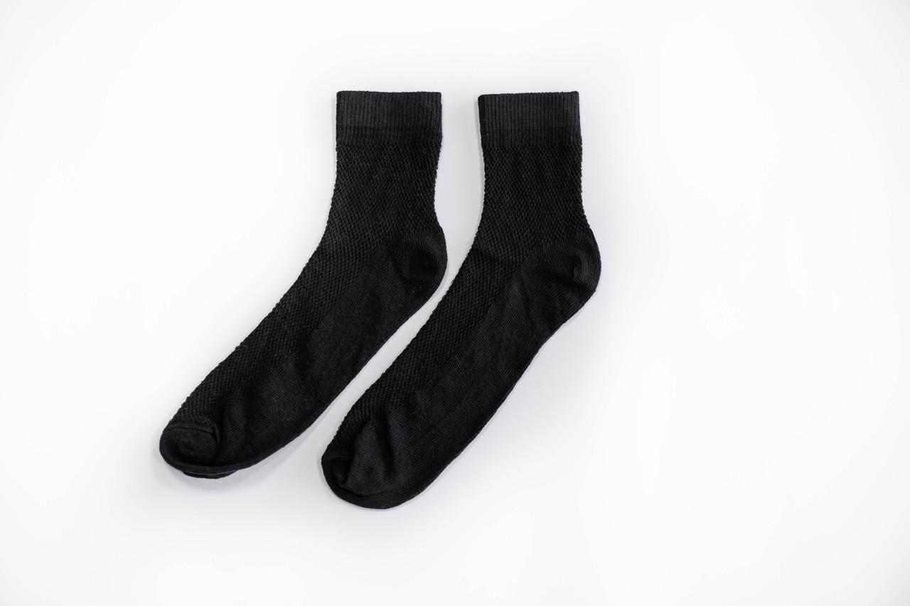 Носки мужские, спорт сетка однотонные черные, р-р 40-44