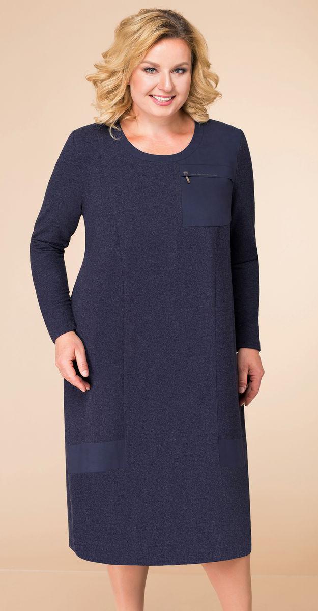 Платье Линия-Л-1745, темно-синий, 60