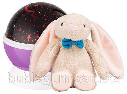 Ночник-проектор звездного неба Roxy Kids с игрушкой Bunny Фиолетовый + плюшевый Заяц